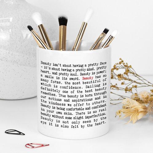 Beauty Quotes Ceramic Make-Up Brush Holder
