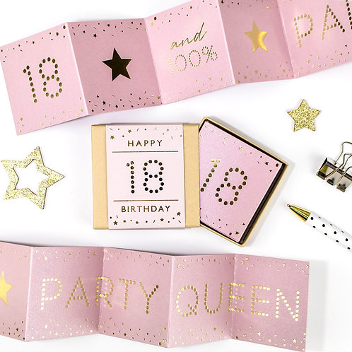Matchbox 'Party Queen' 18th Birthday Pink and Gold Concertina Card