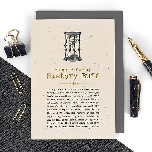 History Buff Vintage Foil Birthday Card x 6