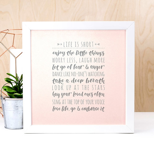 Life List | Iridescent Pink and Grey Quote Print