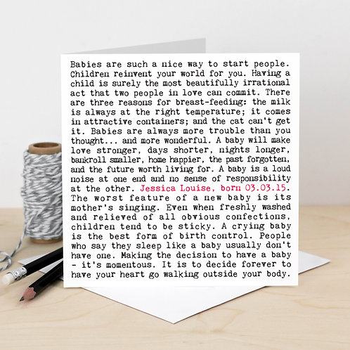 New Baby Card with Funny Quotes for Parents