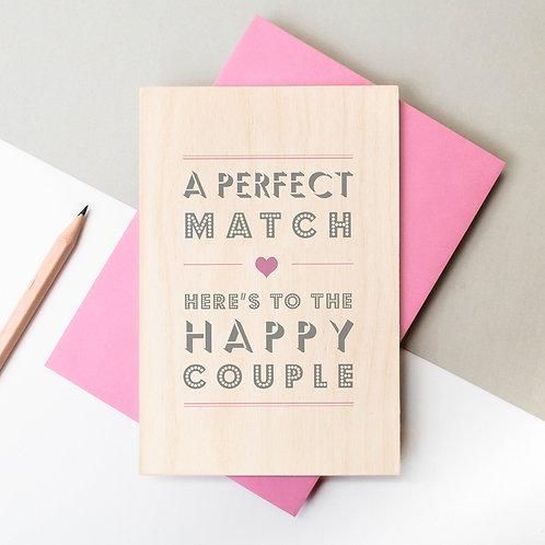 The Happy Couple Wooden Keepsake Wedding Card