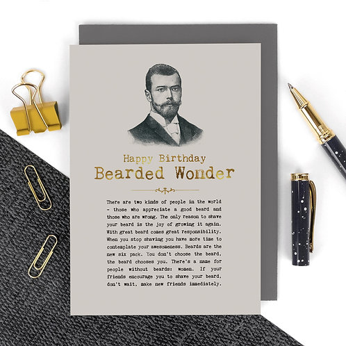 Bearded Wonder Vintage Birthday Card for Him x 6
