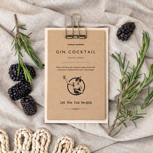 Gin Cocktail Recipe Cards on Clipboard