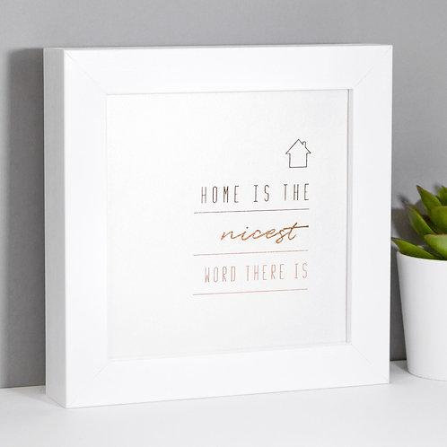 Home Rose Gold Foil Framed Print x 3