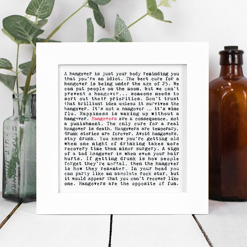 Hangovers Quotes Framed Print in a Gift Box
