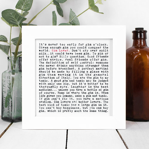 Gin Quotes Framed Print in a Gift Box