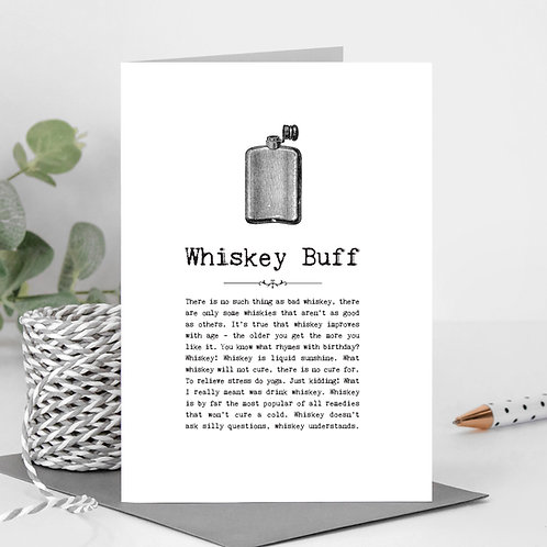 Whiskey Buff Vintage Words Greeting Card x6