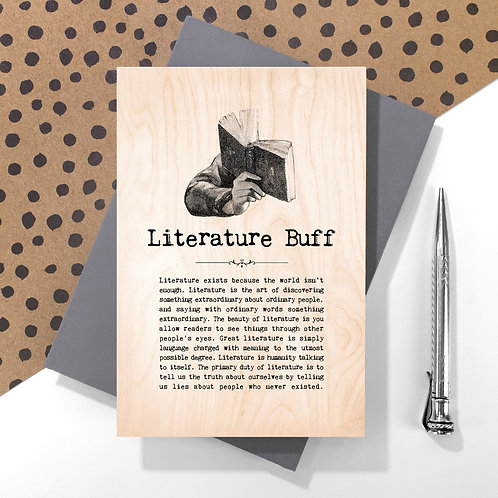 Literature Buff Mini Wooden Plaque Card x 6