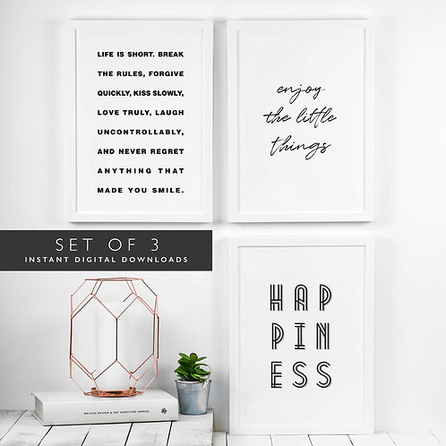 Set of 3 Inspiring Quotes Printable Wall Art [DOWNLOAD ONLY]