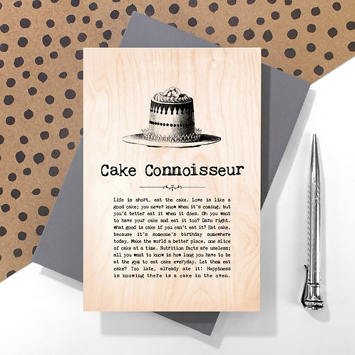 Cake Connoisseur Personalised Wooden Keepsake Card