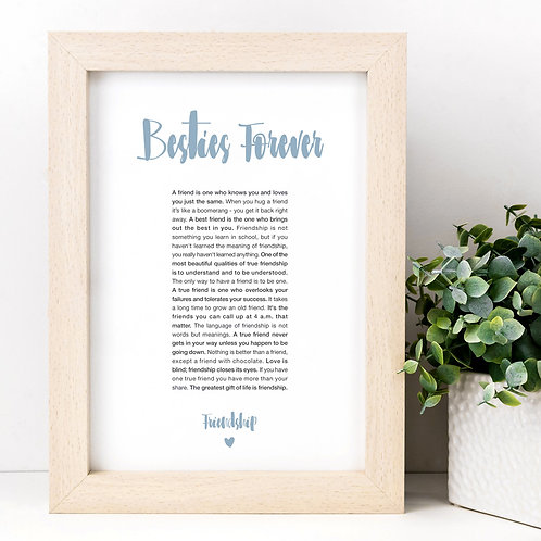 Besties Forever Friendship Quotes A4 Print