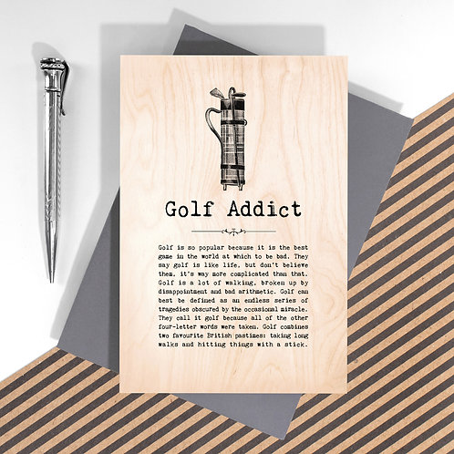 Golf Addict Personalised Wooden Keepsake Card for Golfers