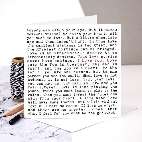 I Love You Wise Words Quotes Card x 6