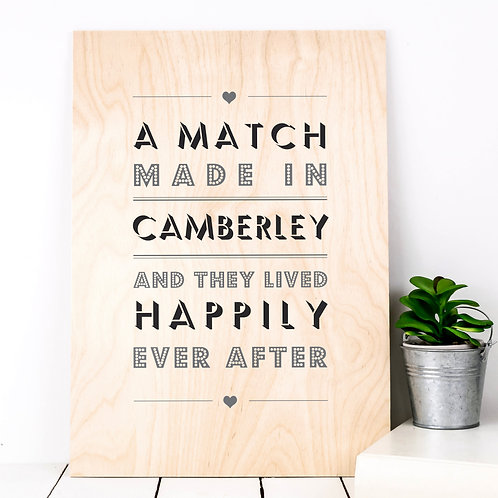 Match Made In... Personalised Wooden Print x 3