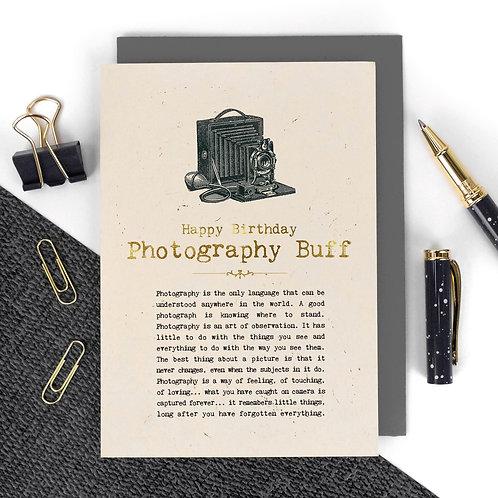 Photography Buff Vintage Foil Birthday Card x 6