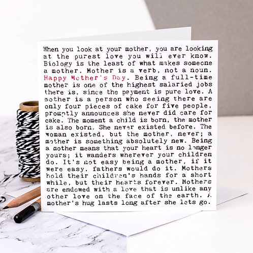Mother's Day Wise Words Quotes Card for Mum