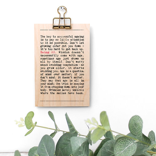 60th Birthday Wise Words Wooden Plaque with Hanger x 3