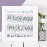 Coulson Macleod Best-selling Wordy Art Print - Wise Words Range - Follow Your Dreams Graduation Gift