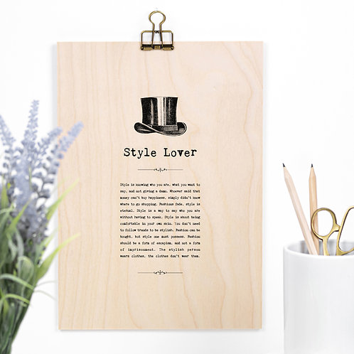 Style Lover Wooden Sign with Hanger