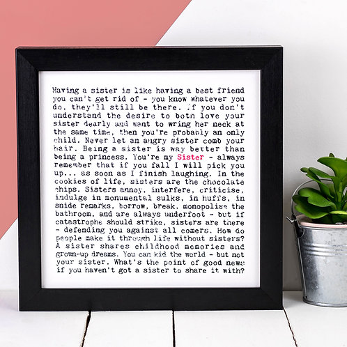Sister Wise Words Print x 3