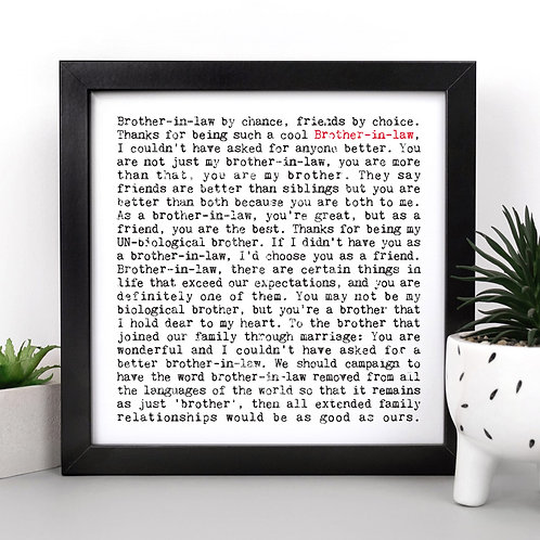 Brother-in-Law Wise Words Quotes Print x 3