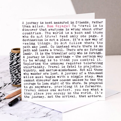Bon Voyage! Travel Wise Words Quotes Card