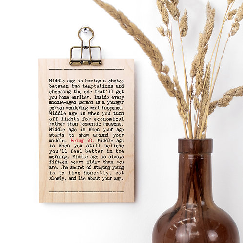 50th Birthday Wise Words Wooden Plaque with Hanger x 3