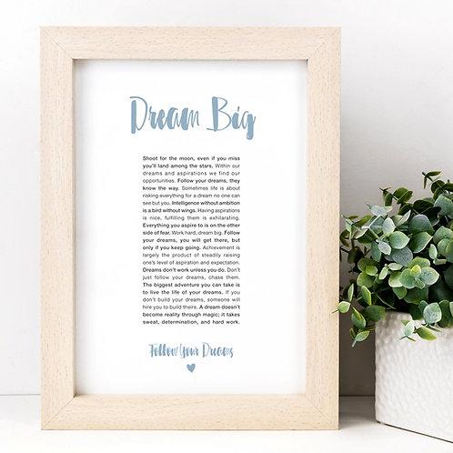 Dream Big A4 Inspirational Quotes Print