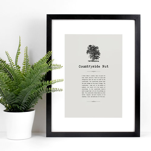 Countryside Nut Personalised A4 Grey Print with Quotes