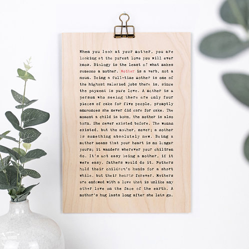 Mother Quotes Wooden Sign with Hanger