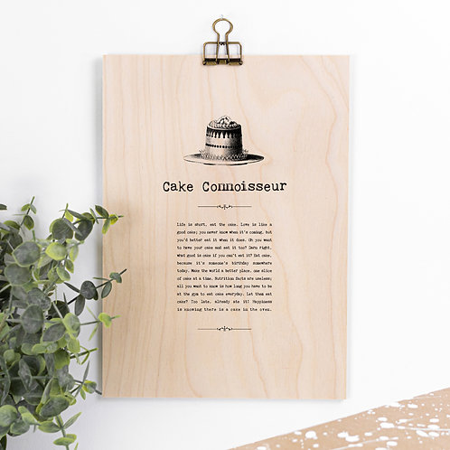 Cake Lover Wooden Sign with Hanger