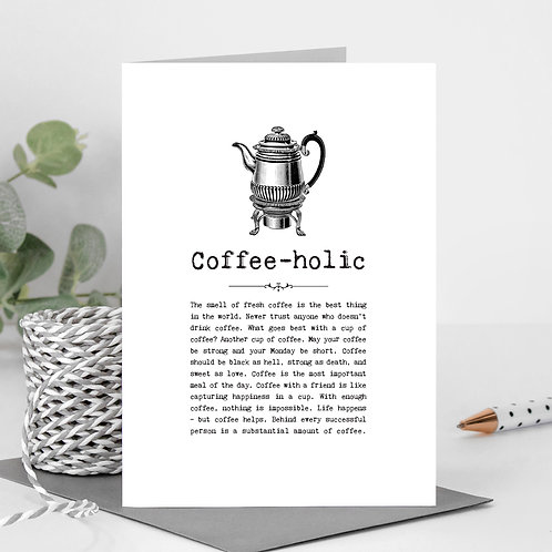 Coffee Vintage Words Greeting Card x 6