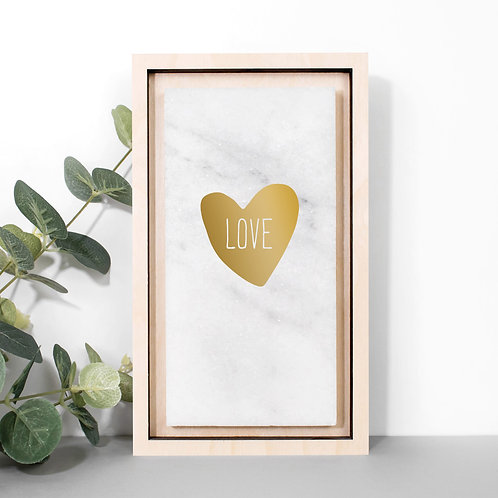 Loveheart Hand-foiled Gold Marble Plaque