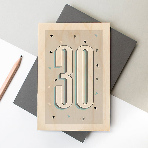 30th Birthday Funky Confetti Wooden Age Card