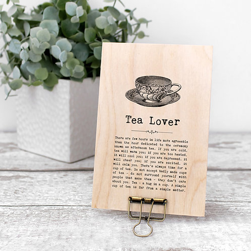 Tea Quotes Wooden Sign with Hanger