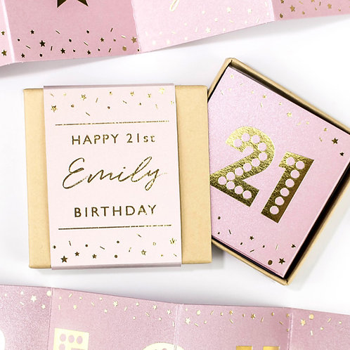 Fun Matchbox 21st Birthday Pink and Gold Concertina Card