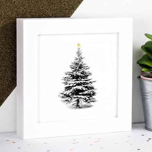 Gold Star Christmas Tree Framed Mini Print