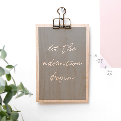 Adventure Begins Wooden Plaque with Hanger x 3