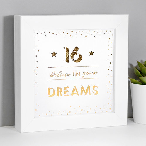 16 Believe in your Dreams Pearl/Gold Framed Print x 3