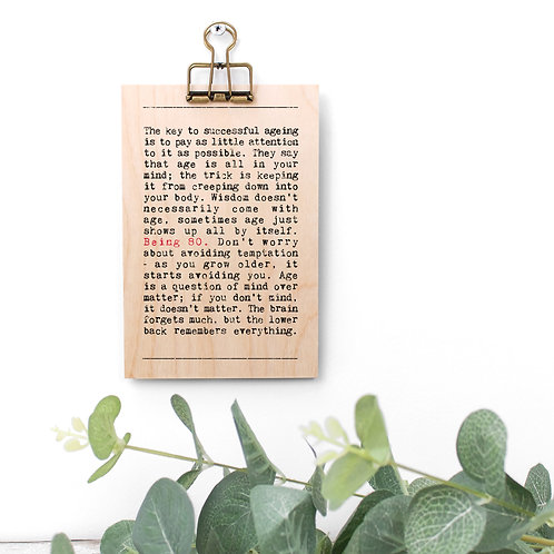 80th Birthday Wise Words Wooden Plaque with Hanger x 3
