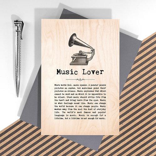 Music Lover Personalised Wooden Keepsake Card
