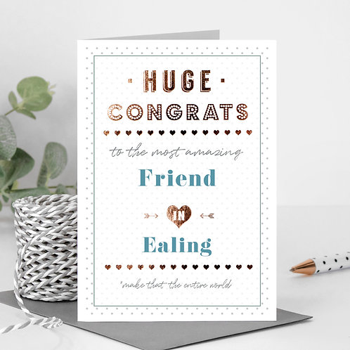 Huge Congrats Dotty Personalised Card in Blue x 6