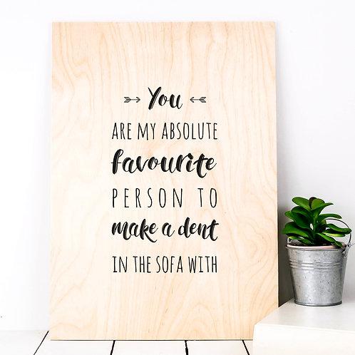 Sofa Dent Funny A4 Wooden Plaque Print x 3