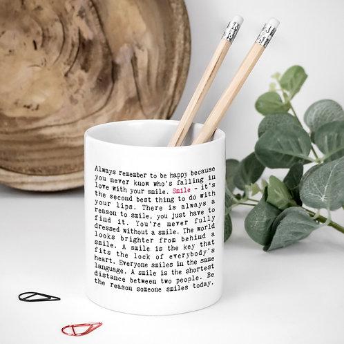 Smile Quotes Ceramic Toothbrush Pot