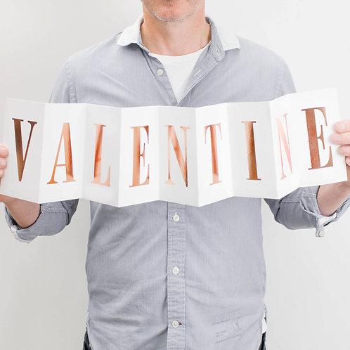 Valentine's Day 'Valentine' Foil Concertina Card
