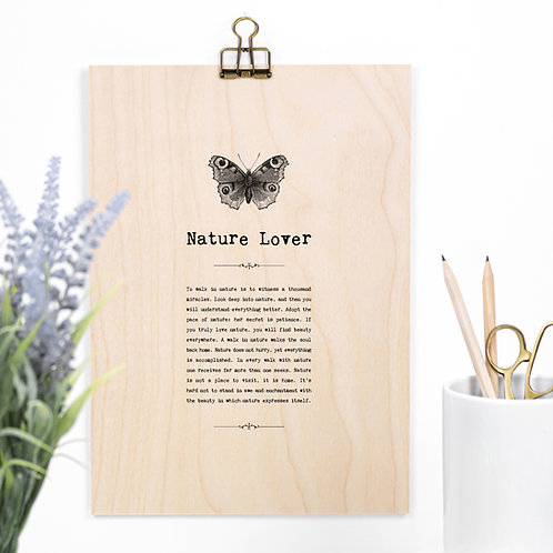 Nature Lover Wooden Sign with Hanger