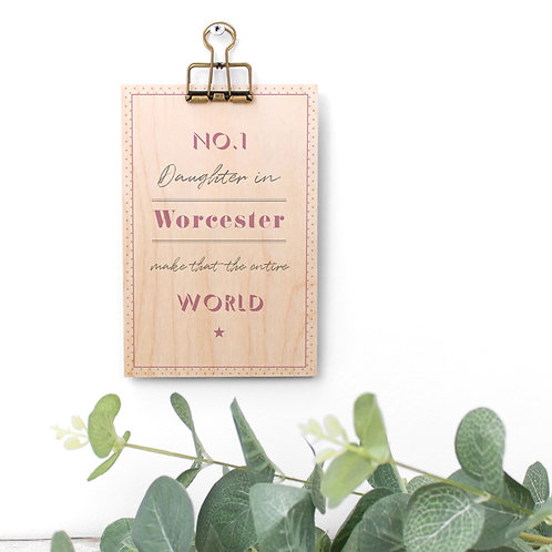No. 1 Personalised Pink Wooden Plaque with Hanger x 3