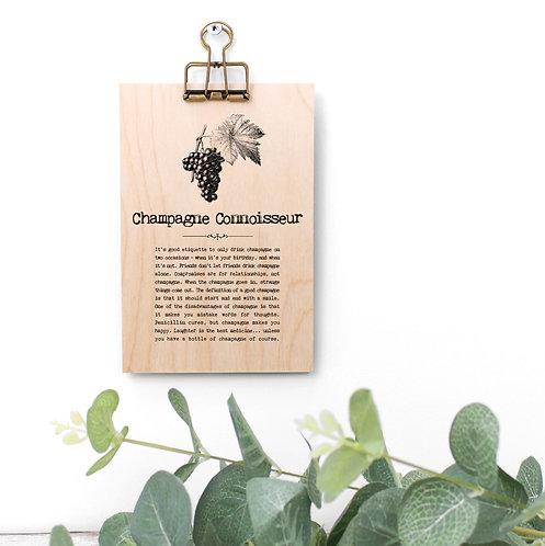 Champagne Connoisseur Wooden Plaque with Hanger x 3