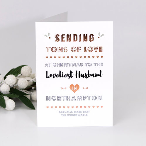 Christmas Time | Rose Gold Personalised Card x 6